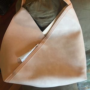 Pale pink faux suede and leather hobo by Ulta NWT